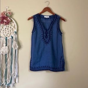 Luna Moon Embroidered Tank Top Blue Size Small
